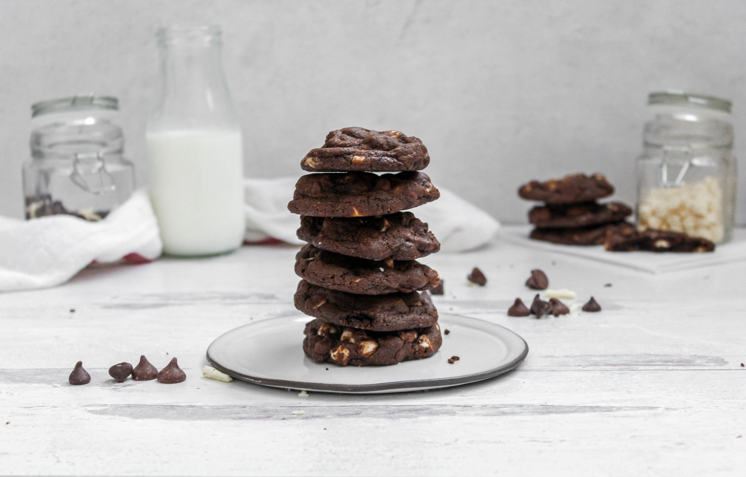 Triple Chocolate chip Cookie stack