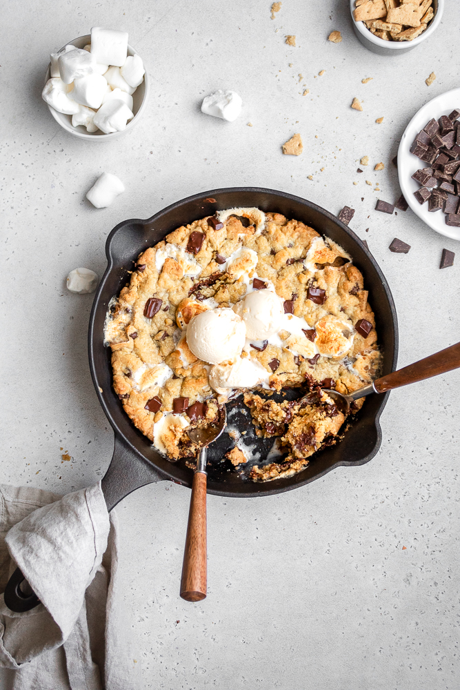 smores stuffed cookie with ice cream