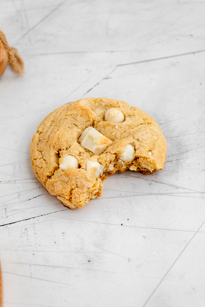 bite of white chocolate chip cookie